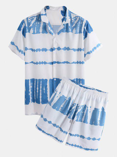 shop Tie Dye Print Shirt And Shorts Two Piece Set - WHITE S Mobile