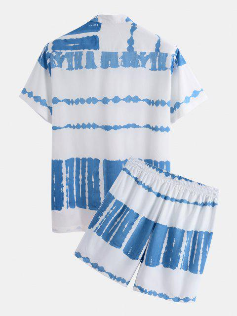 latest Tie Dye Print Shirt And Shorts Two Piece Set - WHITE 2XL Mobile