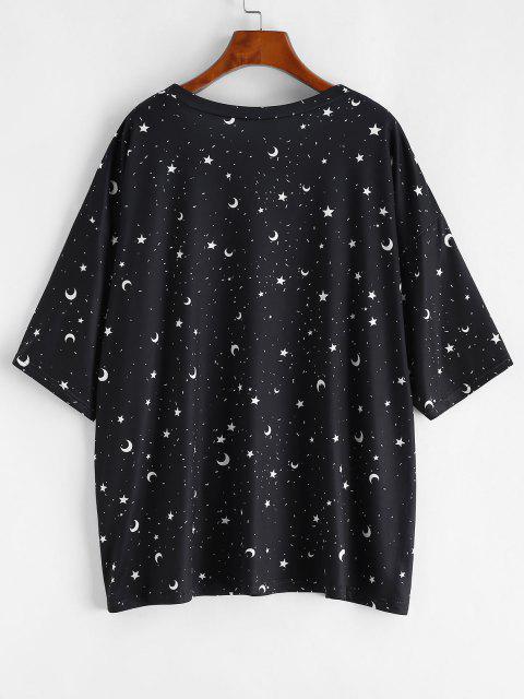 ZAFUL T-shirt Etoile Lune et Soleil Imprimés de Grande Taille - Noir L Mobile