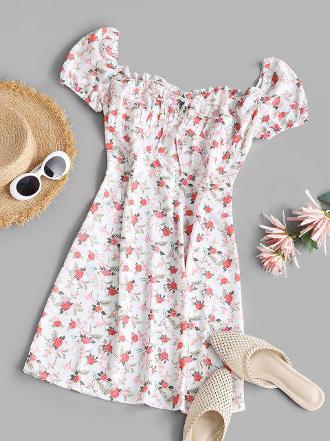 Flower Ruffle Bowknot Puff Sleeve Dress - أبيض S Mobile