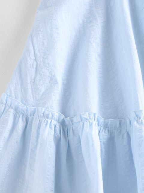 womens ZAFUL Tied Ruffle Flippy Hem Dress - LIGHT BLUE M Mobile