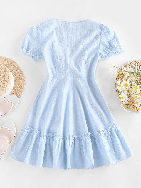 lady ZAFUL Tied Ruffle Flippy Hem Dress - LIGHT BLUE S Mobile