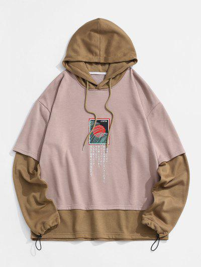 Graphic Colorblock Faux Twinset Hoodie - Deep Coffee M