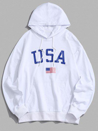 USA American Flag Print Drop Shoulder Hoodie - White S