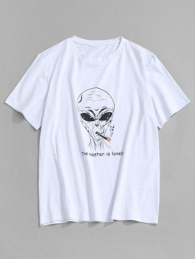 ZAFUL Letter Cartoon Pattern T-shirt - White S