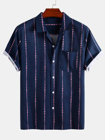Polka Dot Stripe Short Sleeve Shirt - Deep Blue Xl