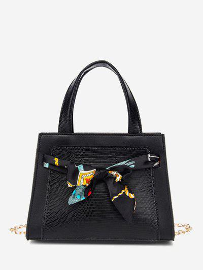 Lizard Embossed Scarf Bow Chain Tote Bag - Black