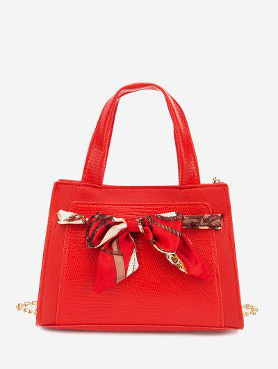 Lizard Embossed Scarf Bow Chain Tote Bag - Ruby Red