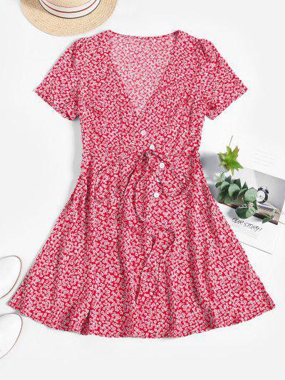 ZAFUL Mini Vestido Floral De Cintura Alta Con Cinturón - Rojo M