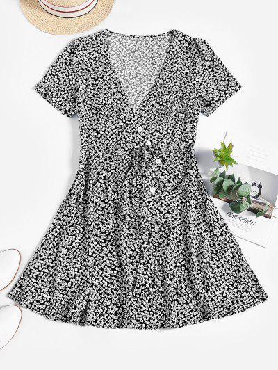 ZAFUL Ditsy Floral Surplice Mini Belted Dress - Black S