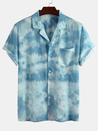 Cloud Tie Dye Print Short Sleeve Shirt - Light Blue M