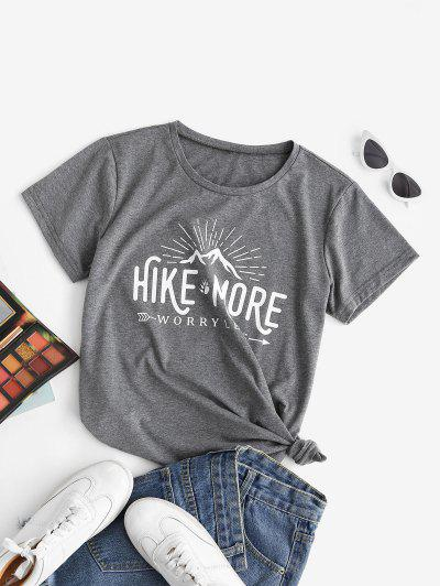Funny HIKE MORE WORRY LESS Graphic Tee - Gray S