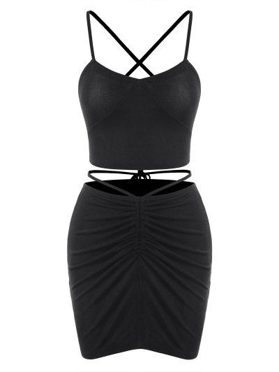 Criss Cross Cinched Jersey Two Piece Dress - Black S