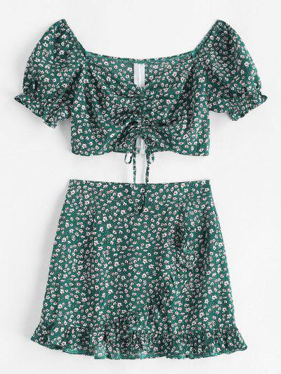Ditsy Floral Cinched Sweetheart Two Piece Dress - Deep Green L