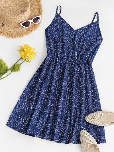 Ditsy Print Cami Smock Dress - Deep Blue M
