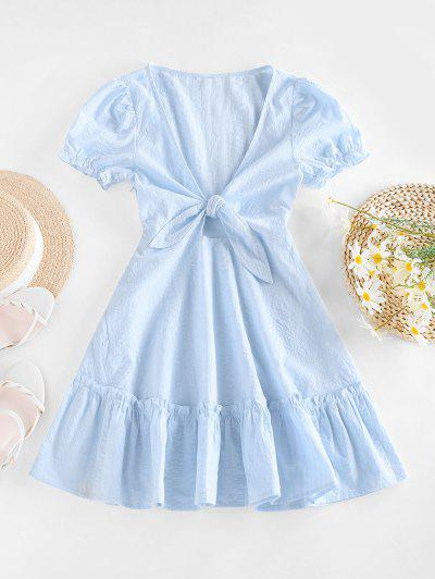 ZAFUL Tied Ruffle Flippy Hem Dress - Light Blue M