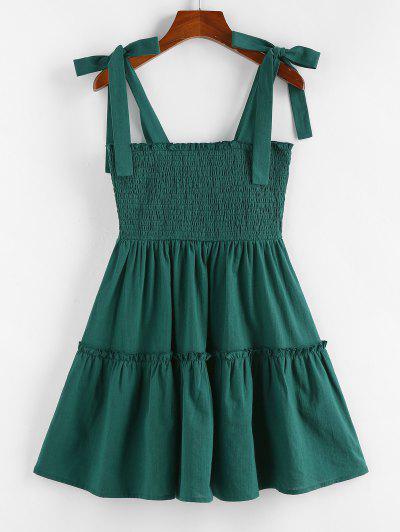ZAFUL Tie Shoulder Smocked A Line Frilled Dress - Green M