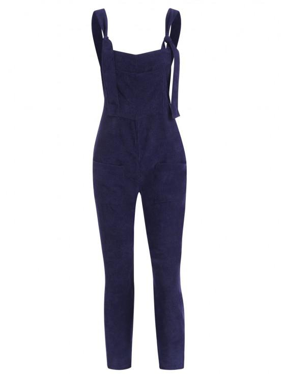 online Straight Pockets Corduroy Overalls Jumpsuit - DEEP BLUE M