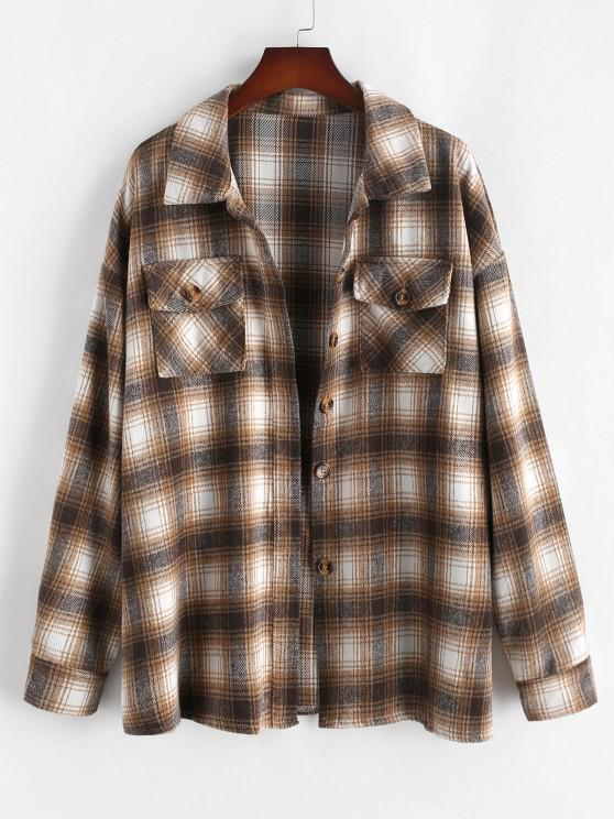 ZAFUL Plus Size Front Flap Pocket Flannel Plaid Shacket - القهوة الخفيفة L