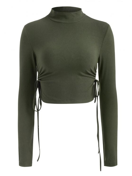 outfits Mock Neck Rib-knit Side Cinched Ruched Crop Top - GREEN S