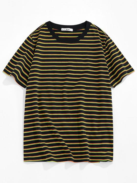ZAFUL Striped Print Short Sleeve T-shirt - الأصفر XXL