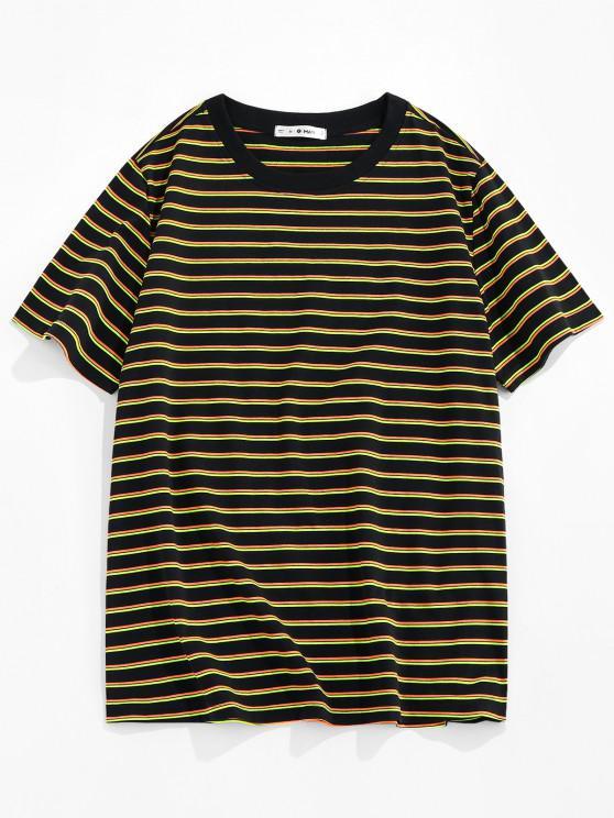 women ZAFUL Striped Print Short Sleeve T-shirt - YELLOW S