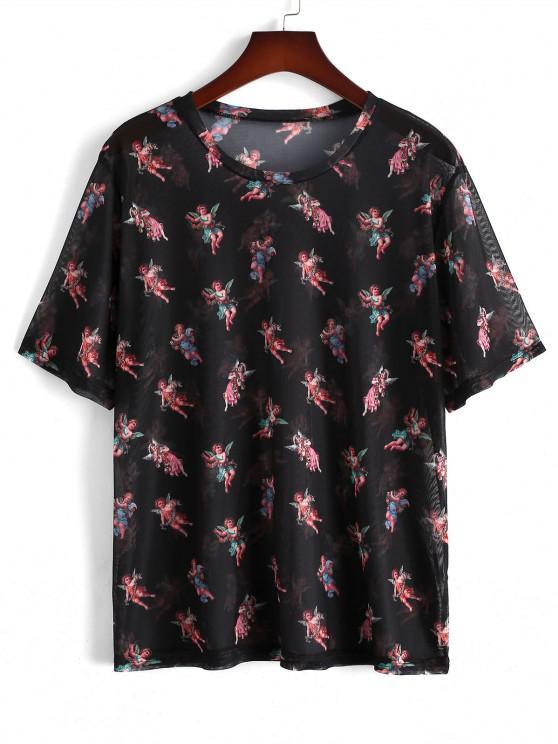 Short Sleeve Angel Floral Print Mesh T-shirt - أسود 2XL