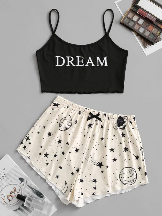 womens Lettuce-trim Planet Dream Graphic Two Piece Shorts Set - BLACK M