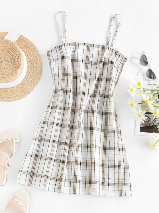 hot ZAFUL Plaid Printed Mini Slip Dress - COFFEE M