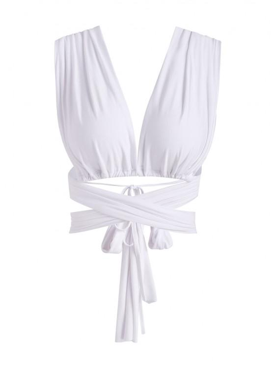 new Tie Around Crisscross Open Back Crop Top - WHITE ONE SIZE
