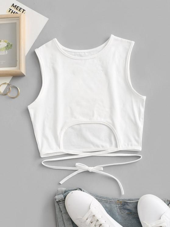 hot Tie Back Cut Out Criss Cross Crop Top - WHITE S