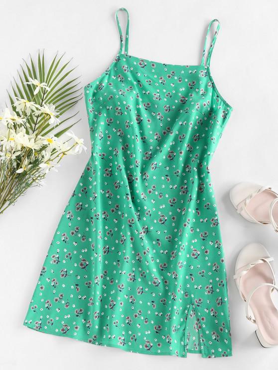 new ZAFUL Floral Slit Mini Vacation Dress - GREEN M