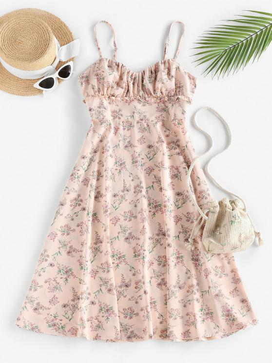 outfits ZAFUL Floral Ruched Frilled A Line Cami Dress - LIGHT PINK L