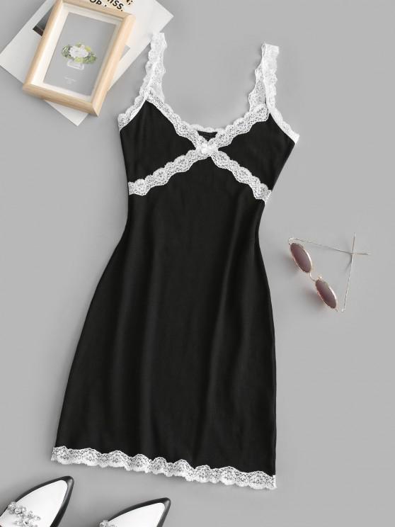 Vestido Festoneado Acanalado con Ribete de Encaje - Negro L