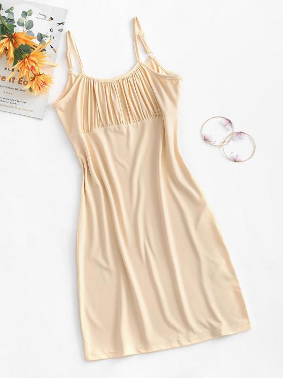 women Cami Ruched Mini Slinky Dress - LIGHT COFFEE L