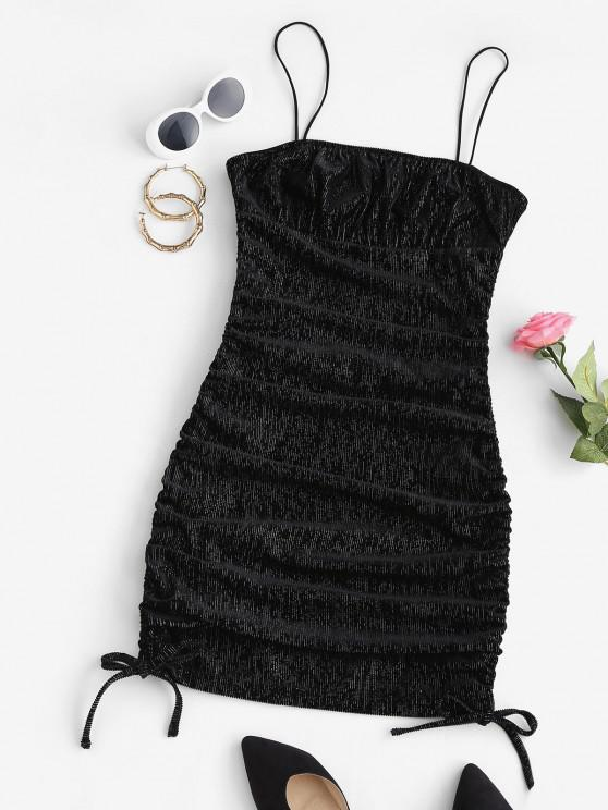 women Corduroy Metallic Thread Cinched Bodycon Dress - BLACK L