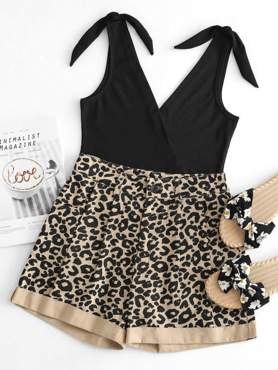 Ribbed Knot Tank Top with Leopard Denim Shorts Set - أسود S