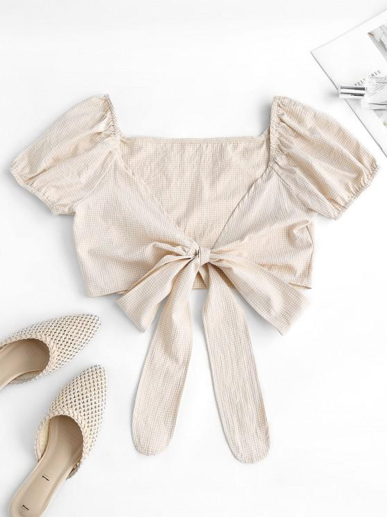 Gingham Puff Sleeve Tie Front Milkmaid Top - أصفر فاتح S