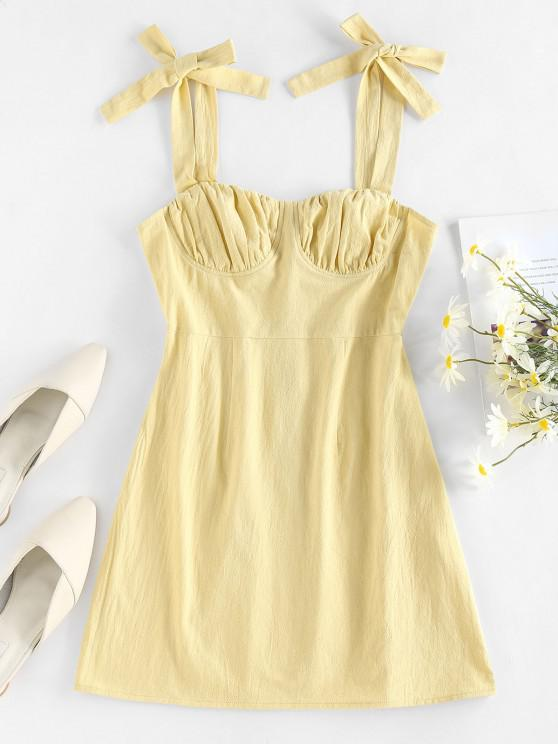 latest ZAFUL Tie Shoulder Ruched Bust Summer Dress - LIGHT YELLOW M