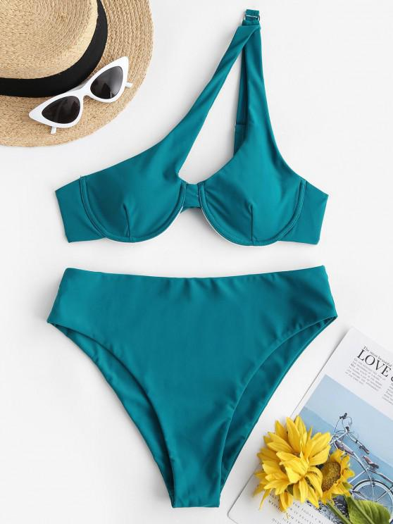 ZAFUL Einziger Schulter Ring Bügel Bikini Badebekleidung - Blau M