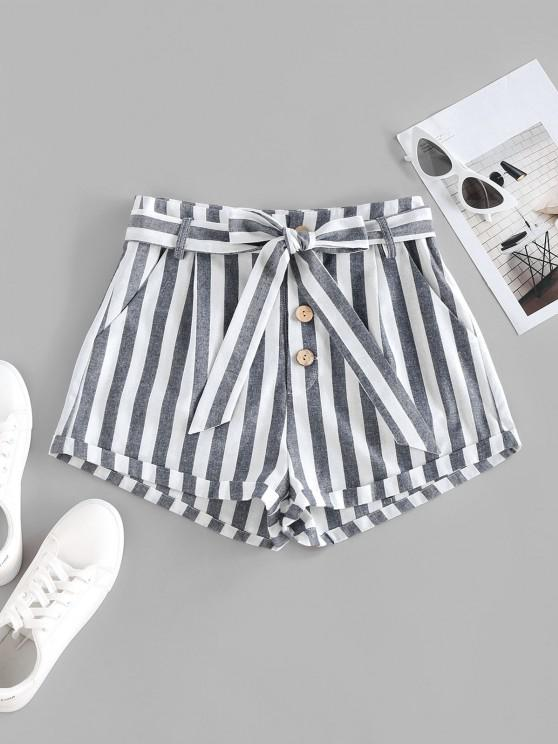womens ZAFUL Striped Pocket Button Fly Belted Rolled Shorts - DEEP BLUE S