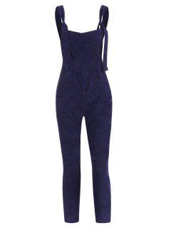 Straight Pockets Corduroy Overalls Jumpsuit - Deep Blue M