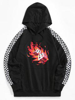 ZAFUL Fire Dice Checkerboard Print Raglan Sleeve Hoodie - Black M