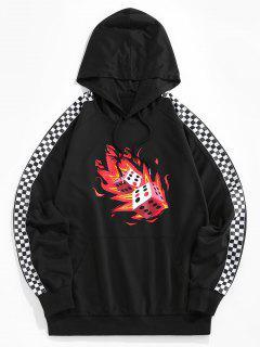 ZAFUL Fire Dice Checkerboard Print Raglan Sleeve Hoodie - Black L