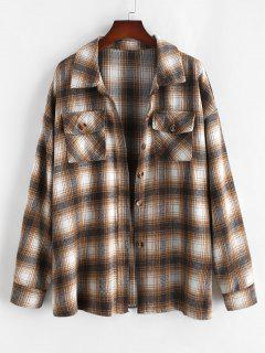 ZAFUL Plus Size Front Flap Pocket Flannel Plaid Shacket - Light Coffee Xl
