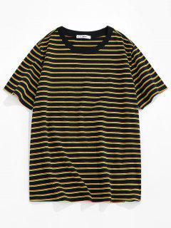 ZAFUL Striped Print Short Sleeve T-shirt - Yellow Xl