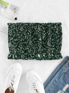 ZAFUL Tiny Floral Smocked Strapless Top - Deep Green S
