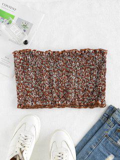 ZAFUL Smocked Ditsy Floral Bandeau Top - Coffee S