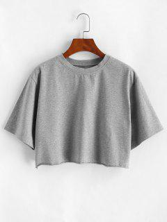Boxy Raw Hem Marled Crop Tee - Gray S