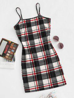 Spaghetti Strap Plaid Slinky Bodycon Dress - Black M